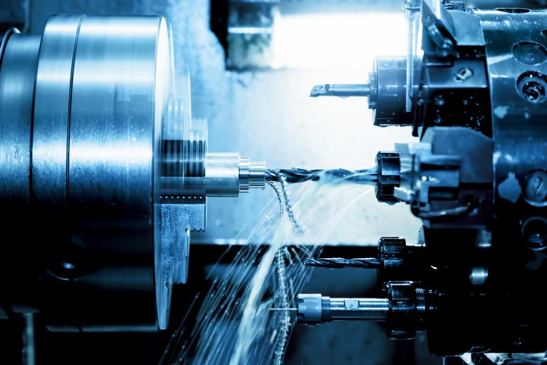 Industrial CNC drilling and boring machine at work